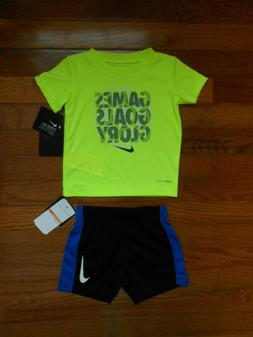 NWT Nike Baby Boys 2pc volt shirt and black short outfit set