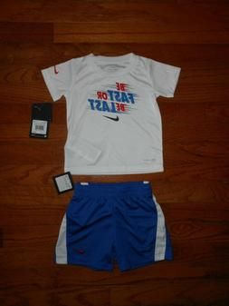 NWT Nike Baby Boys 2pc white shirt and blue short outfit set