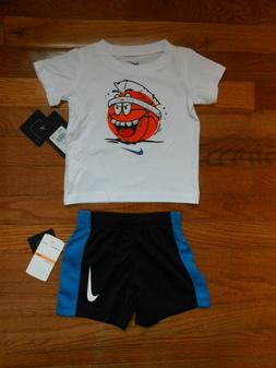NWT Nike Baby Boys 2pc white shirt and black short outfit se