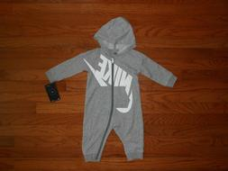 NWT Nike Baby Boys grey heather romper outfit, size 12M & 18