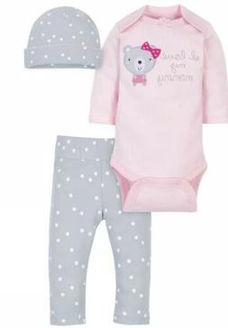 NWT BABY GIRL 3pc LONG SLEEVE OUTFIT SIZE 12 MONTHS