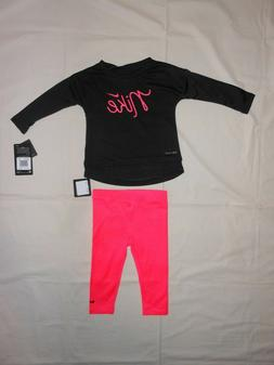 NWT Nike Baby Girls 2pc black shirt & pink legging outfit se