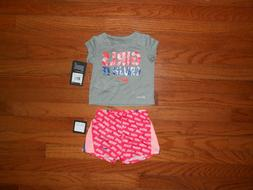 NWT Nike Baby Girls 2pc grey shirt and short outfit set, Siz