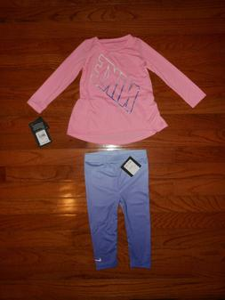 NWT Nike Baby Girls 2pc pink shirt and legging outfit set, S