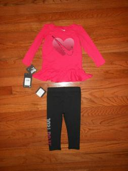 NWT Nike Baby Girls 2pc shirt and black legging outfit set,