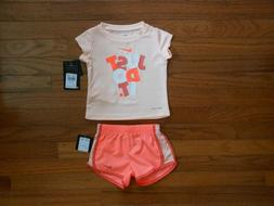 NWT Nike Baby Girls 2pc shirt and short outfit set, Size 12M
