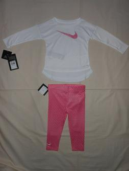 NWT Nike Baby Girls 2pc white shirt and legging outfit set,