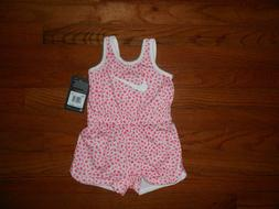 NWT Nike Baby Girls arctic pink romper outfit, Size 12M