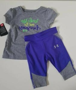 NWT Under Armour Baby Girls Tee And Legging True Grey 12M
