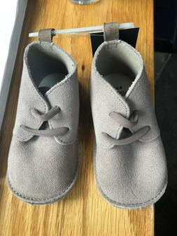NWT BABY GAP GRAY SUEDE BOYS BOOTIES CRIB SHOES 3-6 / 6-12 M