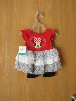NWT Disney Baby MINNIE MOUSE Girls' Two Piece Ruffle Short S