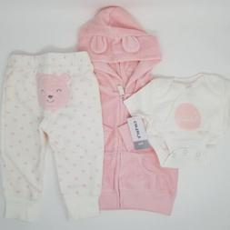 NWT Carter's 3 Piece Baby Girl Outfit 12 9 Months Terry Card