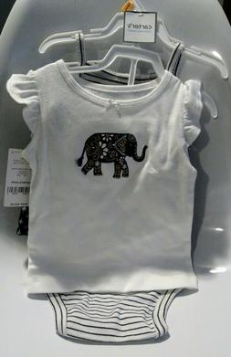 NWT Carter's Girls Black &White 3pc outfit 12 months