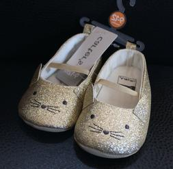 NWT Carter's Gold Glittery Kitty Cat Infant Baby Girl Shoes