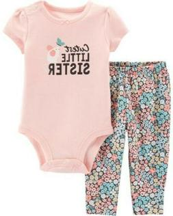 NWT Carters Baby Girl Clothes 12 Months 2 Piece Sister Bodys