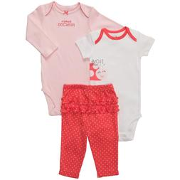 NWT Carters Baby Girls 3 Piece Bodysuit Pant Set Clothes 6 1