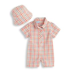 NWT Children's Place Plaid Romper Hat Outfit 9-12 Months Bab