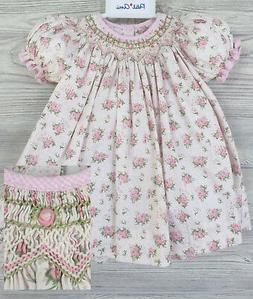 NWT Petit Ami Cream Bishop Smocked Floral Baby Girls 2pc Dre