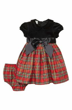 NWT Little Me Girl's 12 18 24 Months Plaid Christmas Dress B