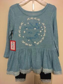 """NWT, Girl's Size 12 Months, """"Believe in Magic,"""" 2-Piece Outf"""