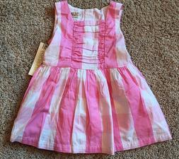 NWT Girls Pink White Checked Sleeveless Dress 12 Months