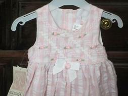 NWT/Bonnie Baby Infant Girls Dress/12 Mos/ROSEBUDS/PINK/Dres