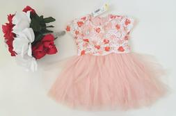 NWT Nannette kids beige and coral Crochet baby girl dress Si
