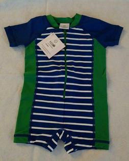 NWT Hanna Andersson Swimmy Rash Guard Striped 1PC Swimsuit 7