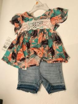 nwt tropical flowers 2pc outfit sz 12