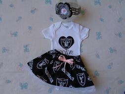 Oakland Raiders Baby Girl Skirt, Personalized Bodysuit  and