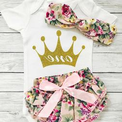 One Year Old Baby Girls 1st Birthday Outfits Summer Tops Rom