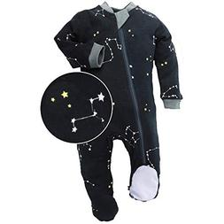 ZippyJamz Organic Baby Footed PJs w/Inseam Zipper - Galaxy L