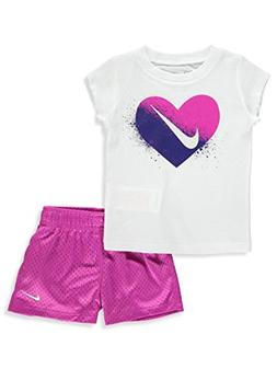 NIKE Baby Girls' 2-Piece Outfit - Hyper Magenta, 12 Months