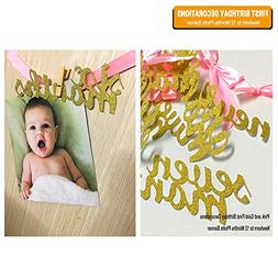 Pink and Gold First Birthday Decorations, Newborn to 12 Mont