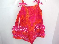 pink orange paisley sleeveless sun dress infant