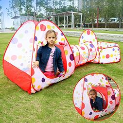 EocuSun Polka Dot 3-in-1 Folding Kids Play Tent with Tunnel,