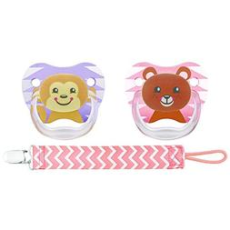 Dr. Brown's PreVent Pacifiers with Clip in Pink - 6-12 Month