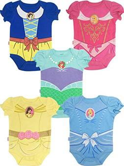 Disney Princess Baby Girls' 5 Pack Bodysuits Belle Cinderell