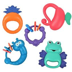 TUMAMA 5 Pack Rattle Teether Set Baby Toys, Baby Hand Develo