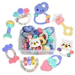 TUMAMA Baby Rattles Teether Toys, Infant Shaking Bell Rattle