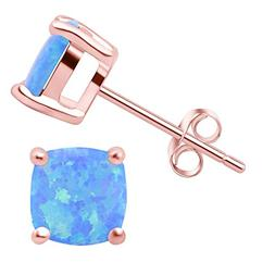 SilkRoad Rose 18K Gold-plated 925 Sterling Silver Blue Opal