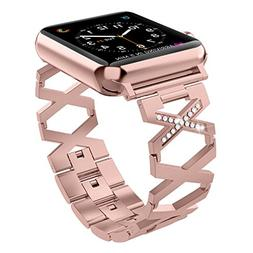 Wearlizer Rose Gold Compatible with Apple Watch Band 42mm 44