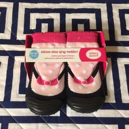 Luvable Friends Rubber Grip Sole Socks 12-18 Months Pink Bow