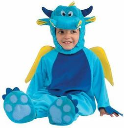 RUBIE'S DRAGON BABY COSTUME! BLUE JUMPSUIT YELLOW WINGS NEW