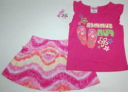RUFFLED SKORT & Tee Shirt CANDY GIRL Pink Flowers Tie Dye FL