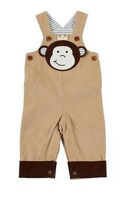 safari monkey face baby boys brown overalls