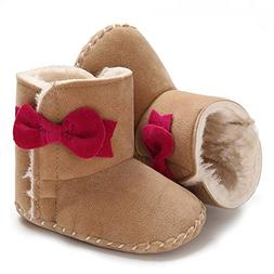 Sawimlgy Infant Girls Warm Winter Snow Booties Bowknot Flora