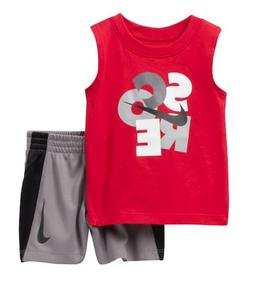 NIKE SCORE BABY BOYS RE MUSCLE SHIRT GRAY SHORTS SET OUTFIT