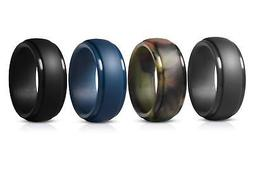 GEJULIC Silicone Wedding Ring for Men Rubber Wedding Band