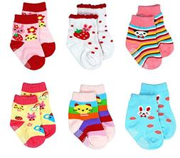 Liwely 6 Pairs Baby Girls Socks, Anti Slip Skid Socks with G